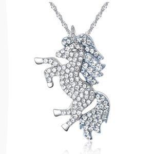 Beautiful Silver Tone Rhinestone Unicorn Necklace